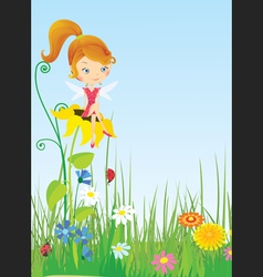 Fairy on the flower vector image