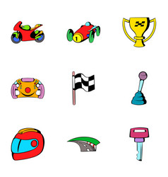 Finish icons set cartoon style vector