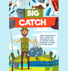fisherman with big fish catch and rod banner vector image