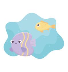 Fishes ocean life cartoon under sea vector