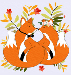 Fox and butterfly in the bush vector