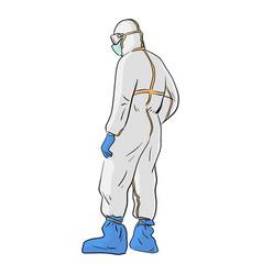 Full length back view doctor in protective hazmat vector