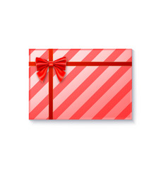 Gift box with big red bow and ribbon on white vector