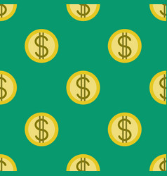 Golden coins with dollar signs seamless pattern vector