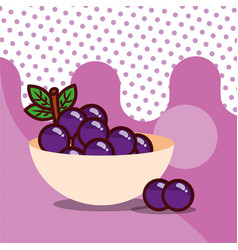 grapes in bowl harvest fruit tasty dotted vector image