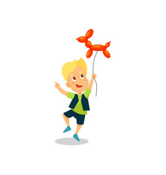 happy little boy with balloon in the shape of a vector image