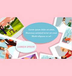 Happy memories polaroid photos banner vector