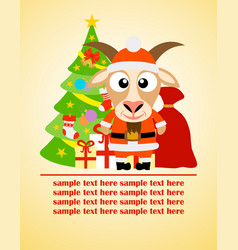 Happy new year card with goat santa claus vector