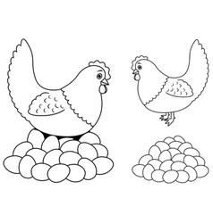 Hen and eggs line art vector
