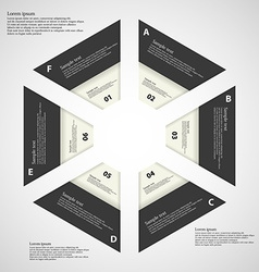 Hexagon from six parts blaxk and white vector