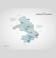 Isometric congo map with city names and vector