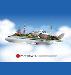 Japan travel and attractions with landmark vector