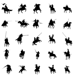 Knight and horse silhouette set vector image