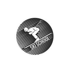 Logo ski school skier descending from vector