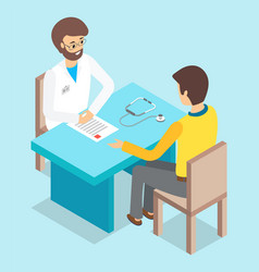 man patient consulting with doctor sitting vector image