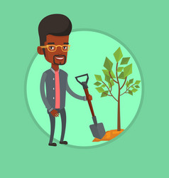 man plants tree vector image