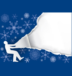 man ripping christmas paper background vector image