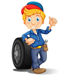 Mechanic with tools and wheel vector