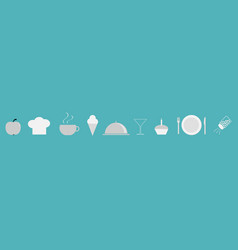 menu restaurant icon set line chef hat cloche vector image