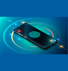 Mobile data security concept smartphone vector