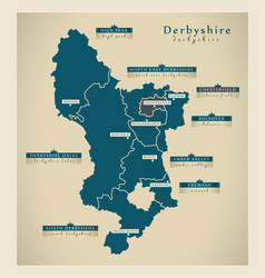 Modern map - derbyshire county with labels uk vector