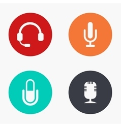modern microphone colorful icons set vector image
