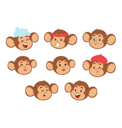 Monkeys rare animal cartoon macaque head vector
