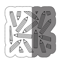 Monochrome sticker contour with pattern of pencils vector