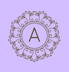 Monogram a logo and text badge emblem line art vector