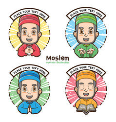 moslem labels with cartoon style vector image