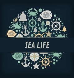 Nautical anchor icons circles vector