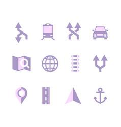 navigation icons maps symbols navigator ui vector image