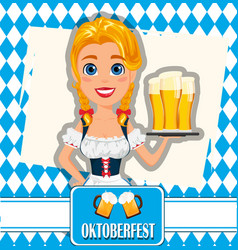 oktoberfest on abstract background sexy redhead vector image