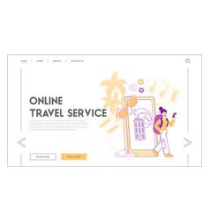 online mobile application for travelers landing vector image