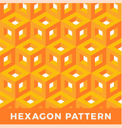 orange cube isometric seamless pattern hexagon of vector image