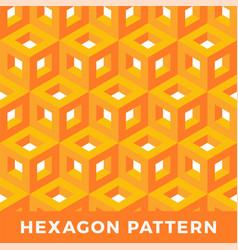 orange cube isometric seamless pattern hexagon of vector image