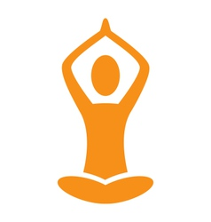 Orange emblem Yoga pose isolated on white vector image