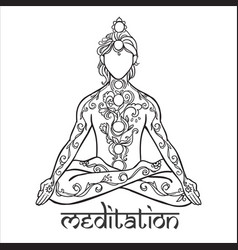ornament beautiful man in a yoga pose lotus vector image