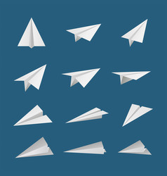 paper plane or aircraft simple flat style icon set vector image