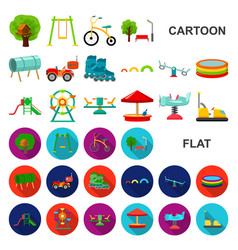 Playground entertainment cartoon icons in set vector