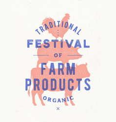 Poster for farm fest cow pig rooster stand on vector