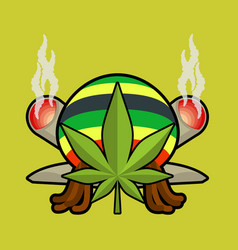 Rasta logo cannabis leaf and joint or spliff vector