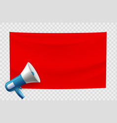 red blank banner with loudspeaker empty template vector image