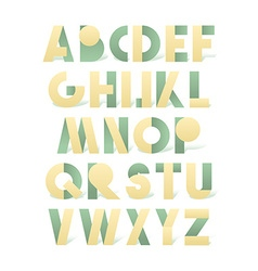 Retro font in green and yellow Beige alphabet vector image
