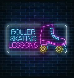 roller skating lessons advertising sign retro vector image