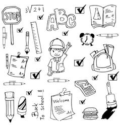School tools doodles set vector