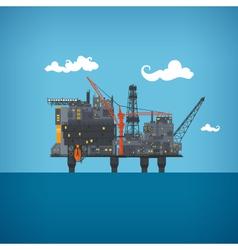 Sea oil platform vector image