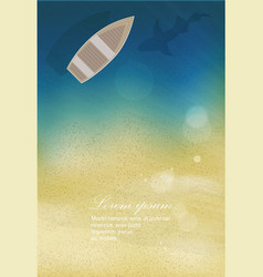 Sea sand beach with boat and shark vector