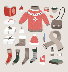 set cute hand drawn winter christmas lifestyle vector image