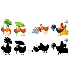 set farmer chicken vector image